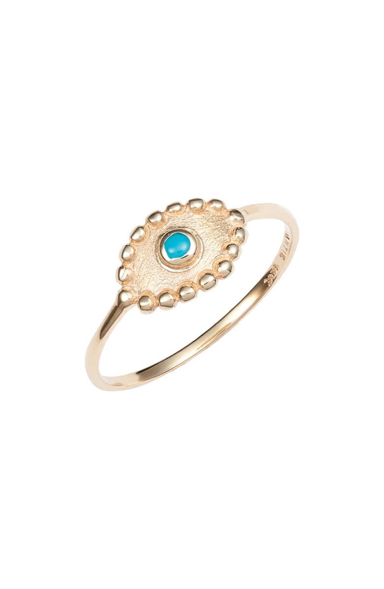 ANZIE Turquoise Evil Eye Ring, Main, color, GOLD/ TURQUOISE