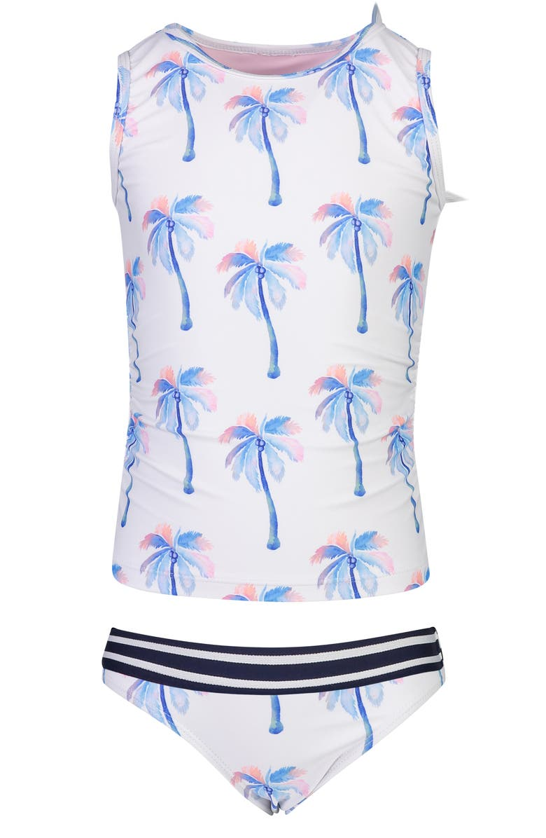 SNAPPER ROCK Palm Print Two-Piece Tankini Swimsuit, Main, color, WHITE W/ BLUE