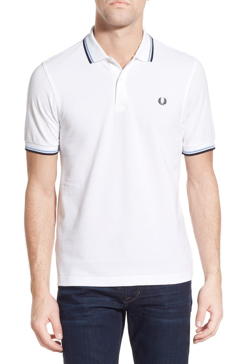 FRED PERRY Twin Tipped Extra Slim Fit Piqué Polo, Main, color, WHITE