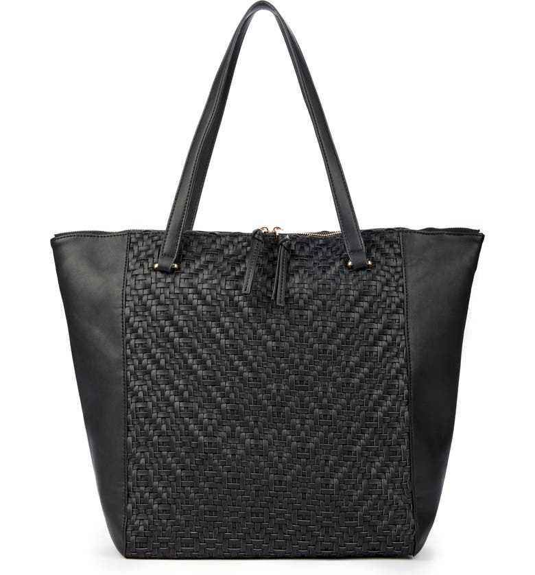 SOLE SOCIETY Woven Faux Leather Tote, Main, color, Black