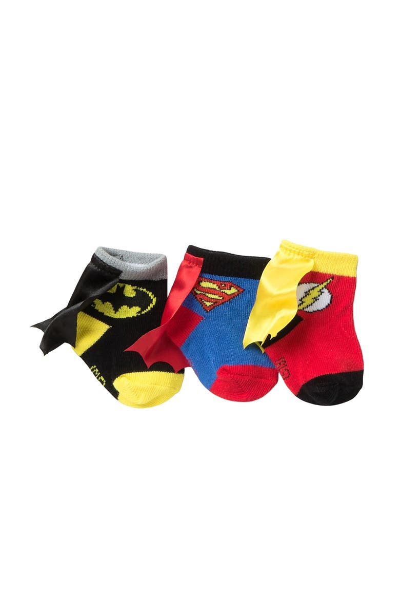 HAPPY THREADS Caped Justice League Booties - Pack of 3, Main, color, MULTI