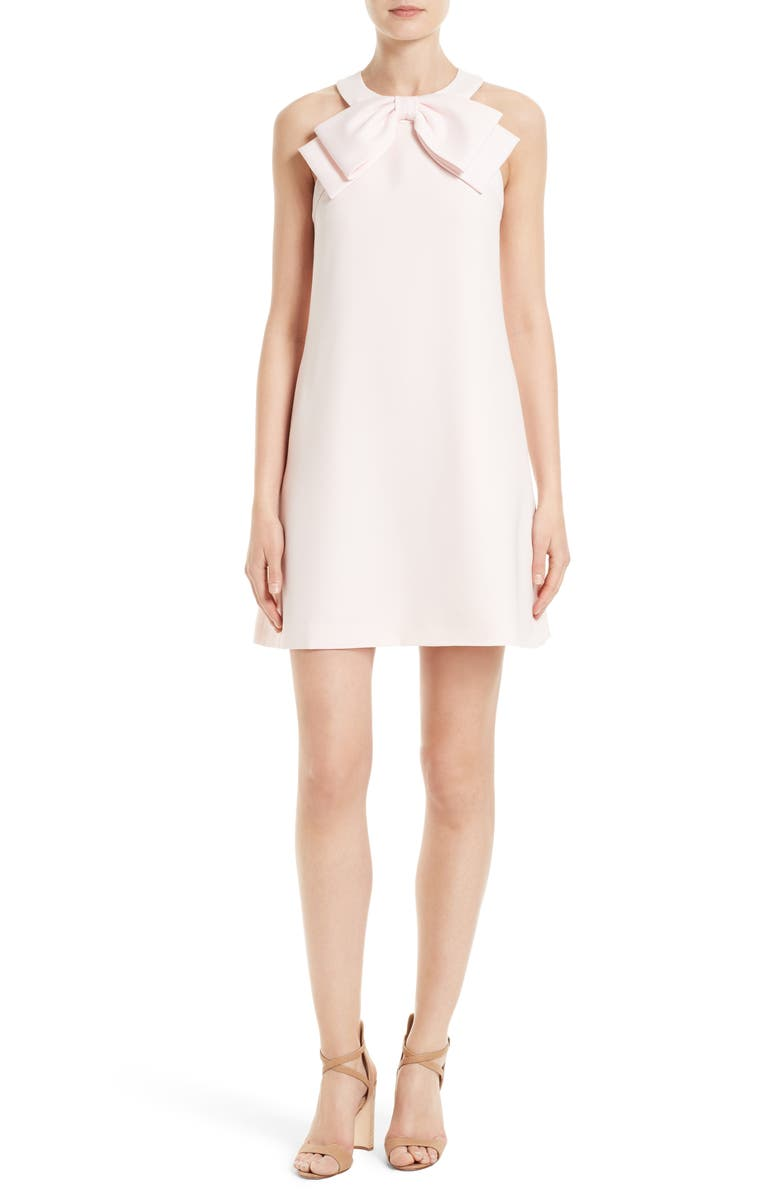 TED BAKER LONDON Trixia Bow Neck A-Line Dress, Main, color, BABY PINK