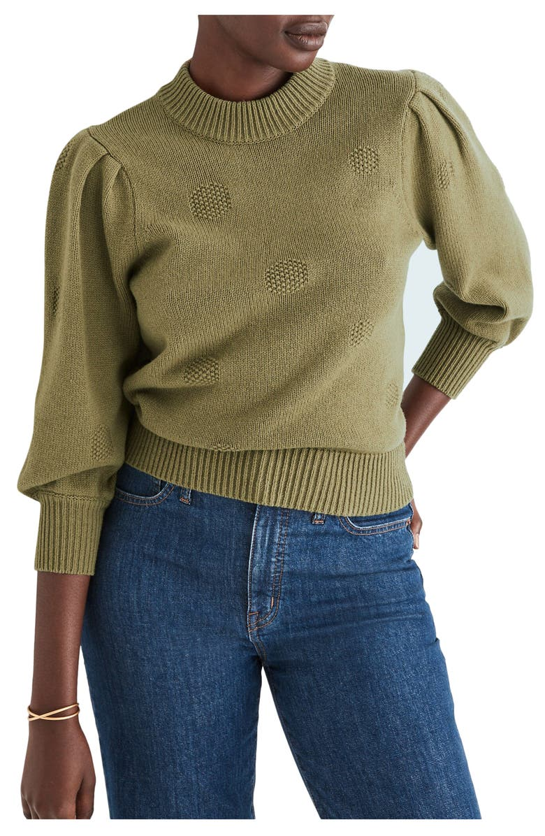 MADEWELL Eaton Dotted Puff Sleeve Cotton & Merino Yarn Pullover Sweater, Main, color, VINTAGE MOSS