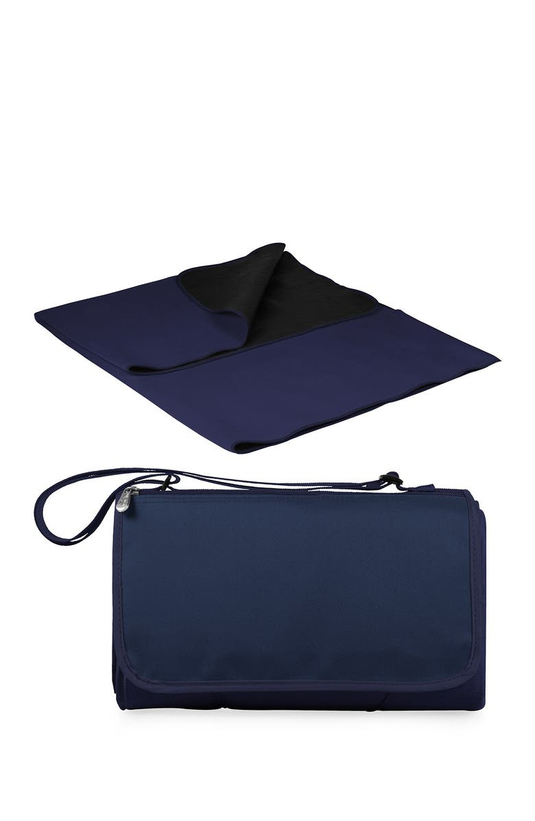 PICNIC TIME Navy with Black Lining Blanket Tote Outdoor Picnic Blanket, Main, color, NAVY WITH BLACK LINING