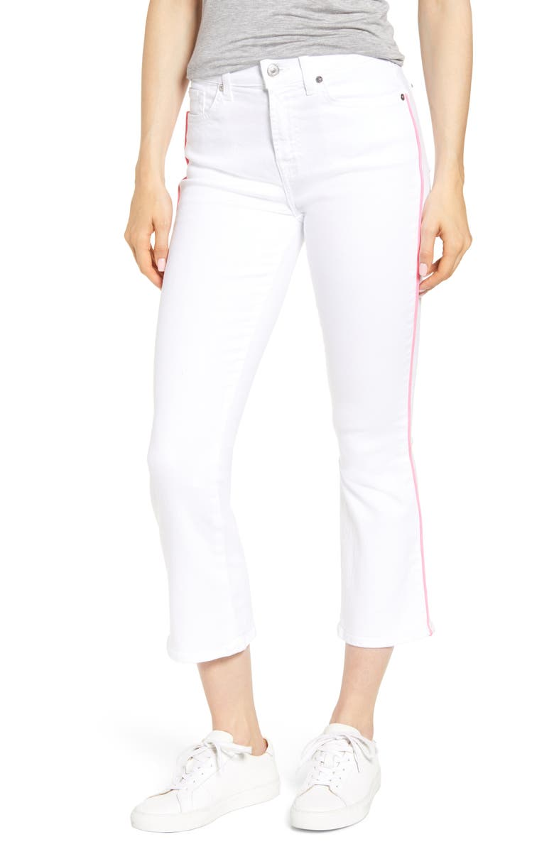 7 FOR ALL MANKIND High Waist Crop Jeans, Main, color, WHITE