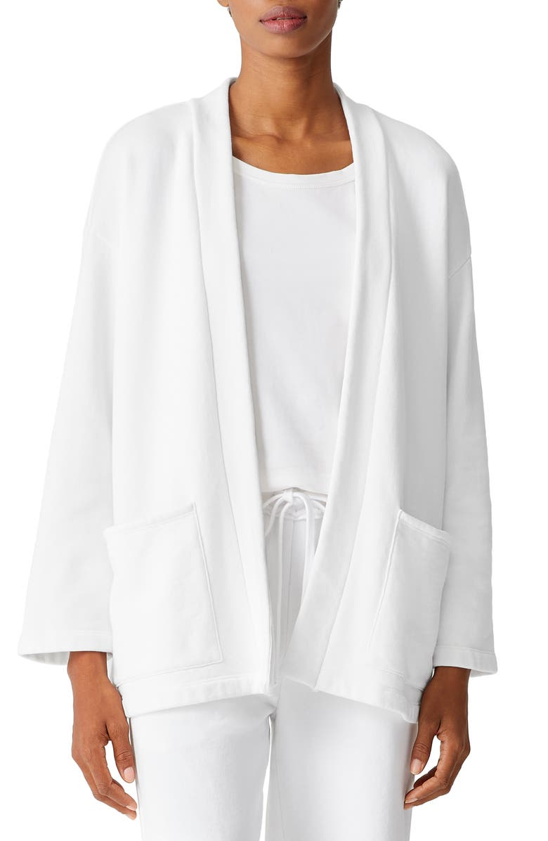 EILEEN FISHER Organic Cotton Jacket, Main, color, WHITE
