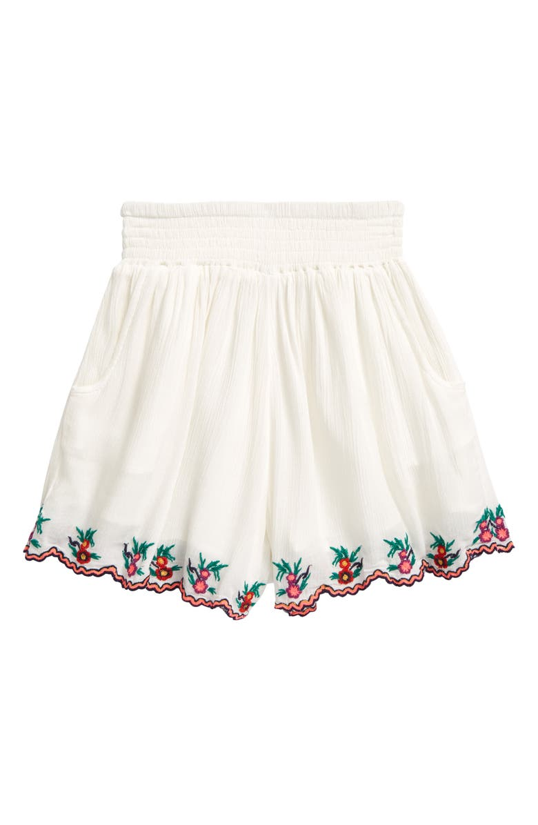 PEEK AREN'T YOU CURIOUS Kids' Crinkle Gauze Embroidered Shorts, Main, color, WHITE