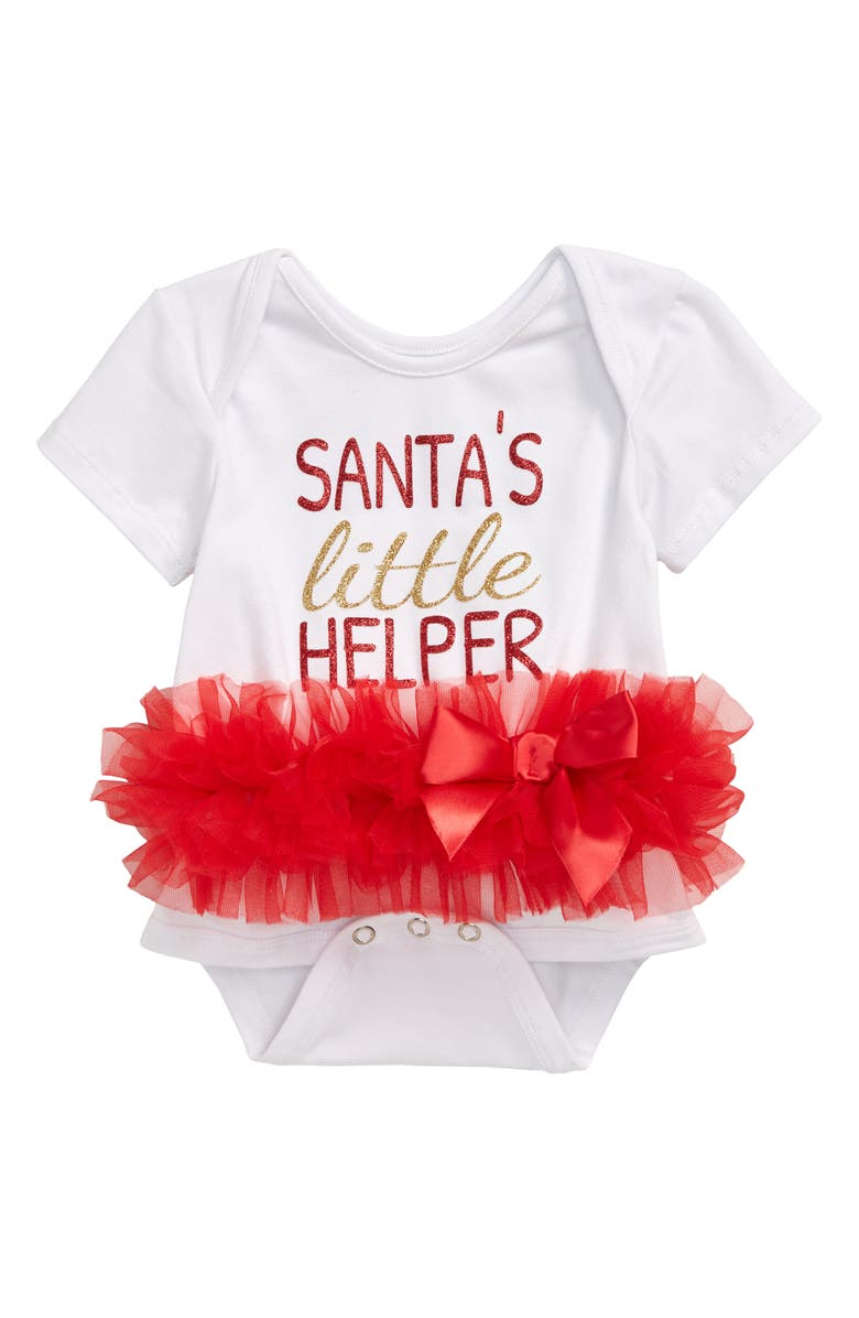 POPATU Santa's Little Helper Skirted Bodysuit, Main, color, 106