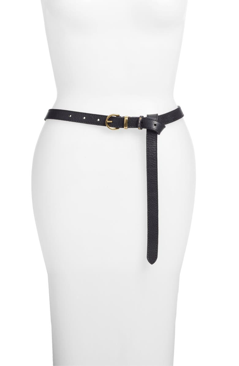 FRYE Campus Knotted Leather Belt, Main, color, 001