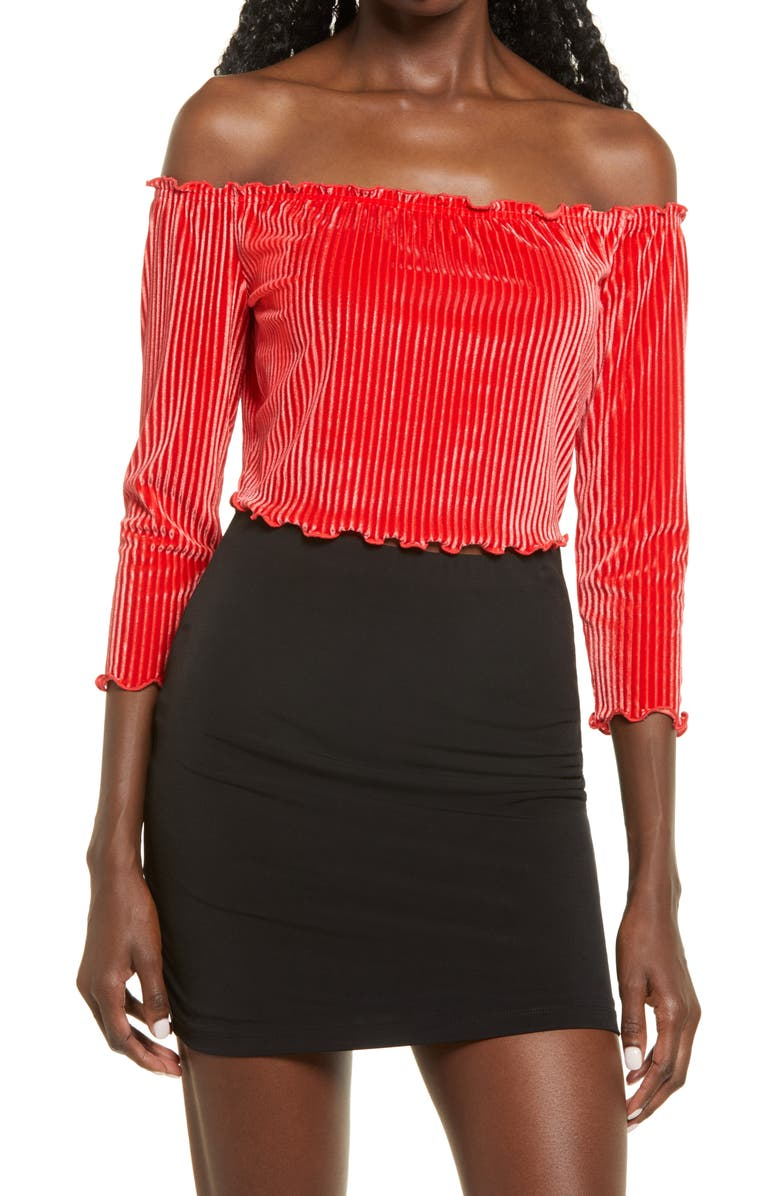 LEITH Off the Shoulder Velour Crop Top, Main, color, RED BLOOM