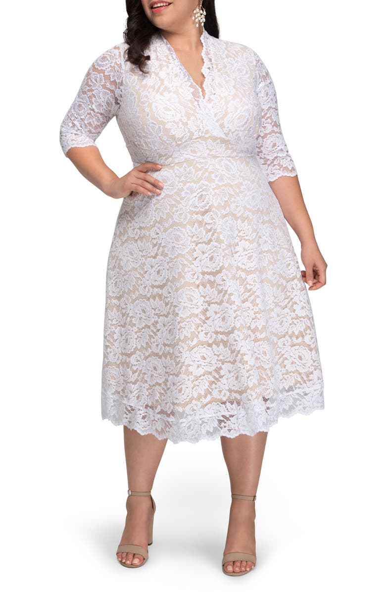 KIYONNA Bella Lace Fit & Flare Dress, Main, color, WHITE WITH CHAMPAGNE LINING