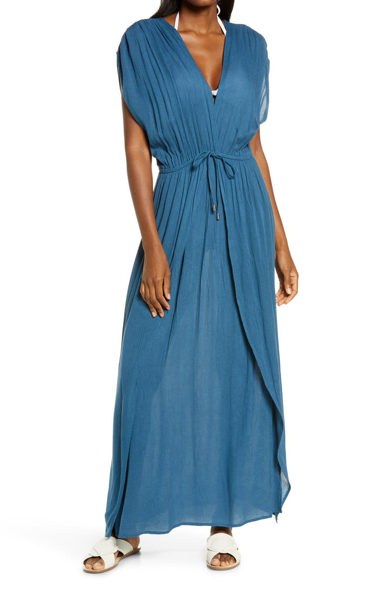 ELAN Wrap Maxi Cover-Up Dress, Main, color, DARK DENIM