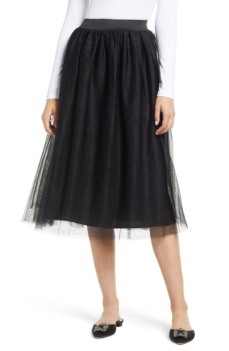HALOGEN<SUP>®</SUP> Tulle Midi Skirt, Main, color, 001