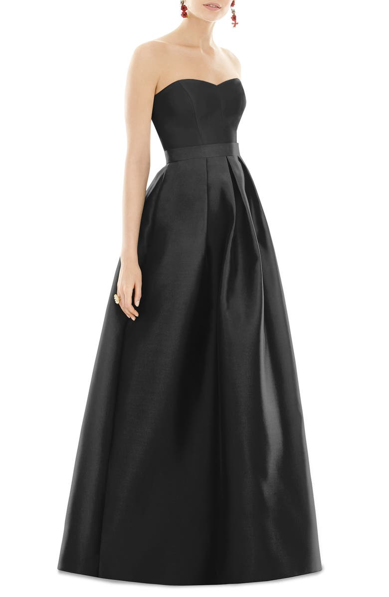 ALFRED SUNG Strapless Satin Twill A-Line Gown, Main, color, Black