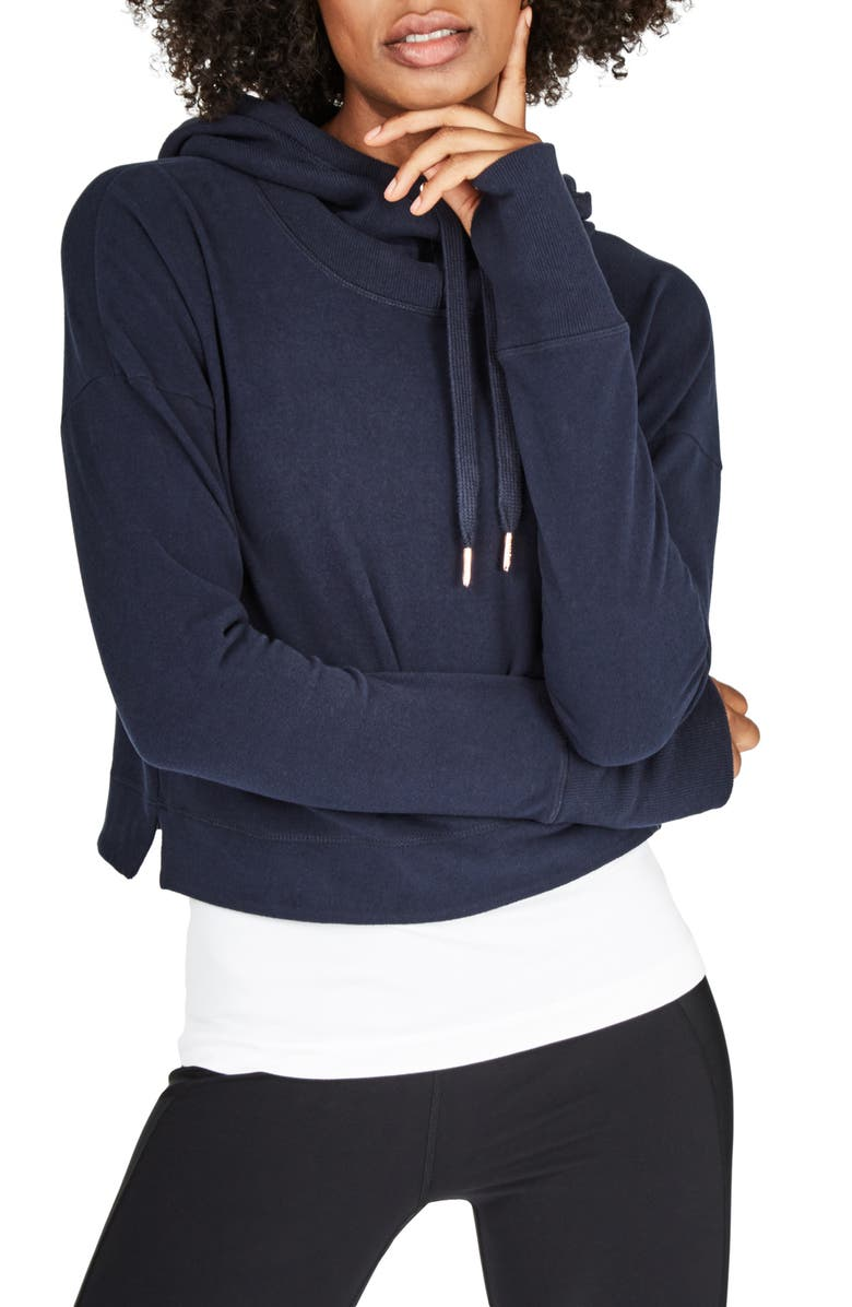 SWEATY BETTY Escape Luxe Crop Hoodie, Main, color, BEETLE BLUE