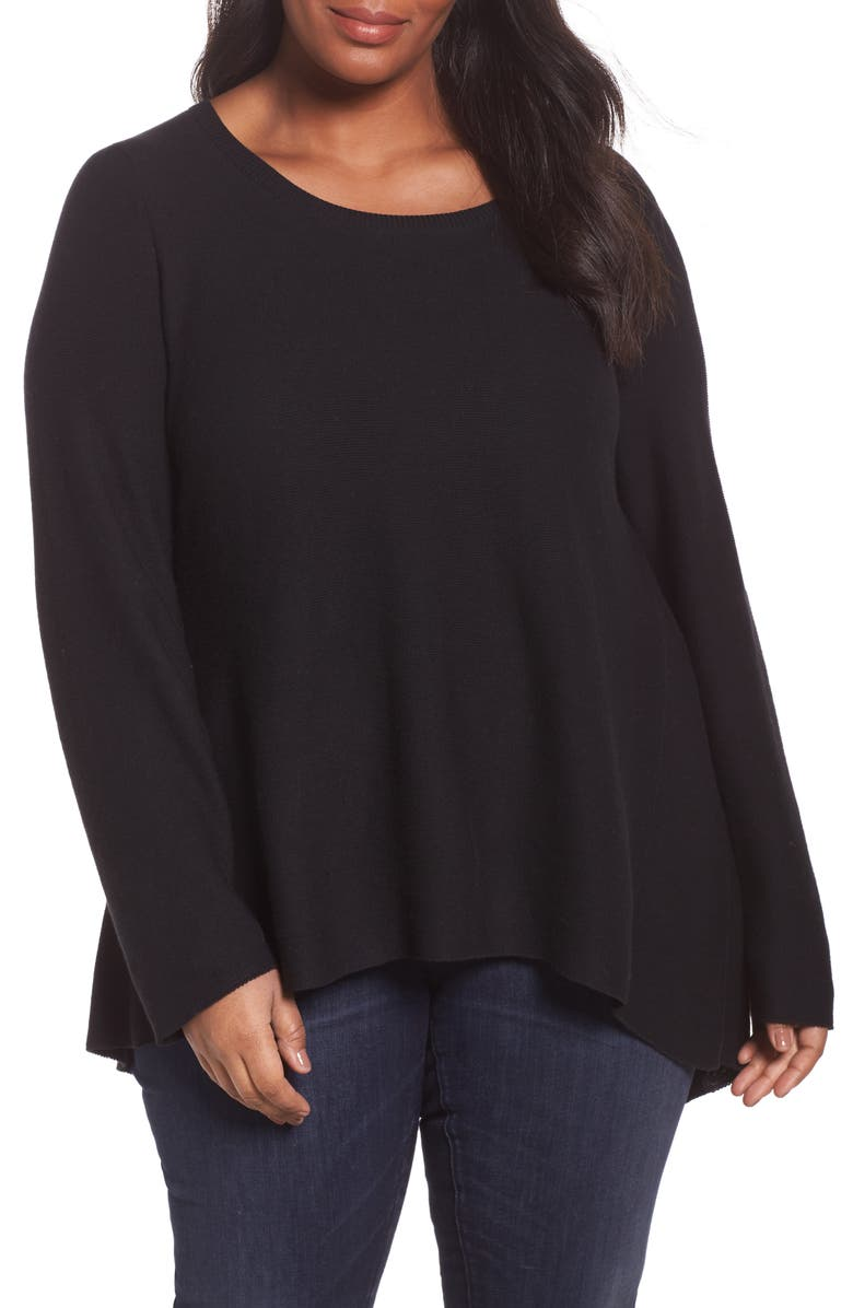 EILEEN FISHER Organic Cotton High/Low Tunic, Main, color, Black