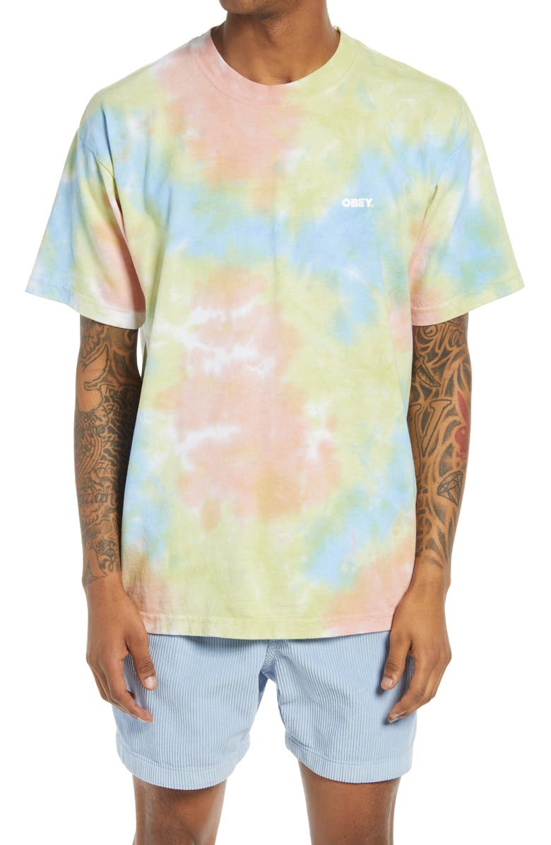 OBEY Men's Bold Tie Dye T-Shirt, Main, color, HUMUS BLOTCH