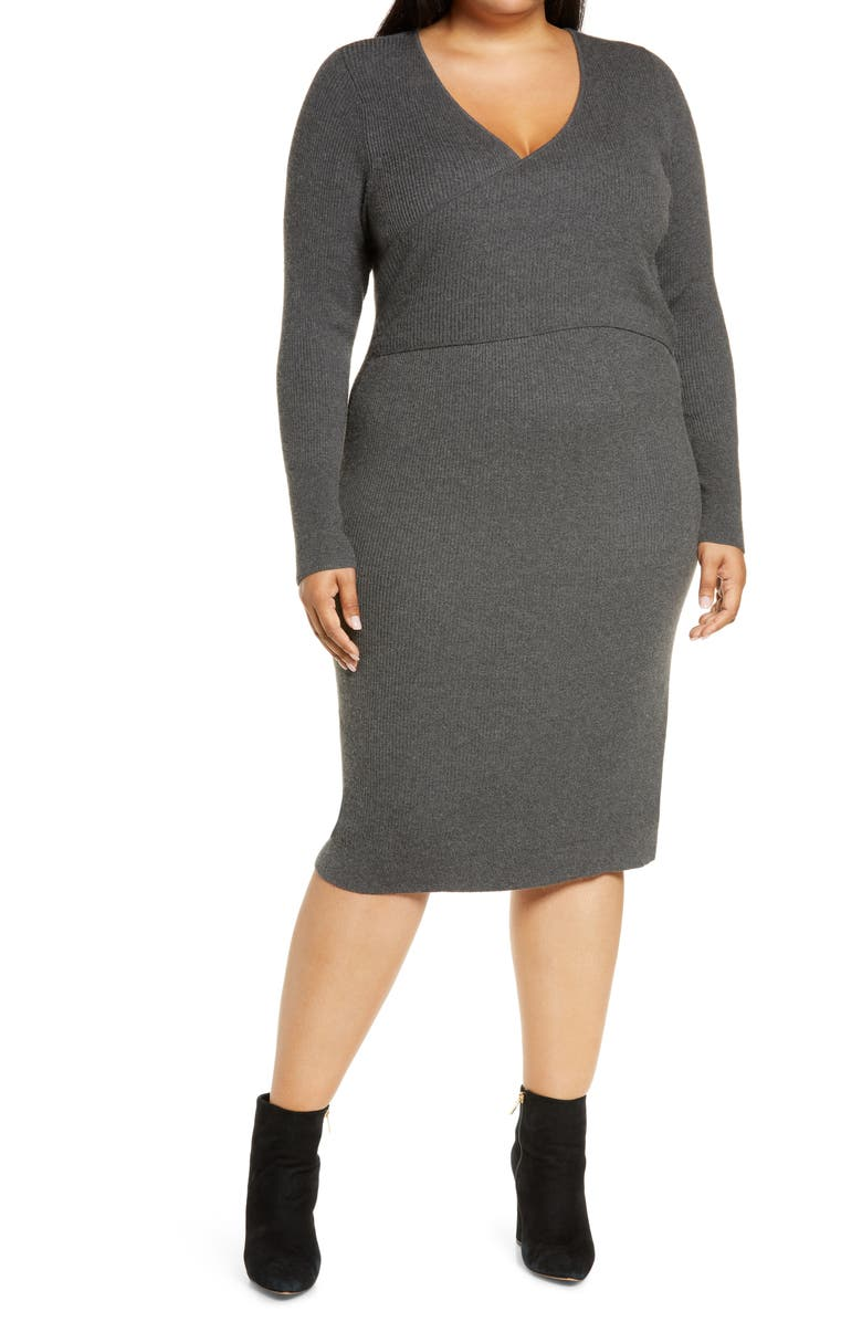 LEITH Wrap It Up Long Sleeve Sweater Dress, Main, color, 030