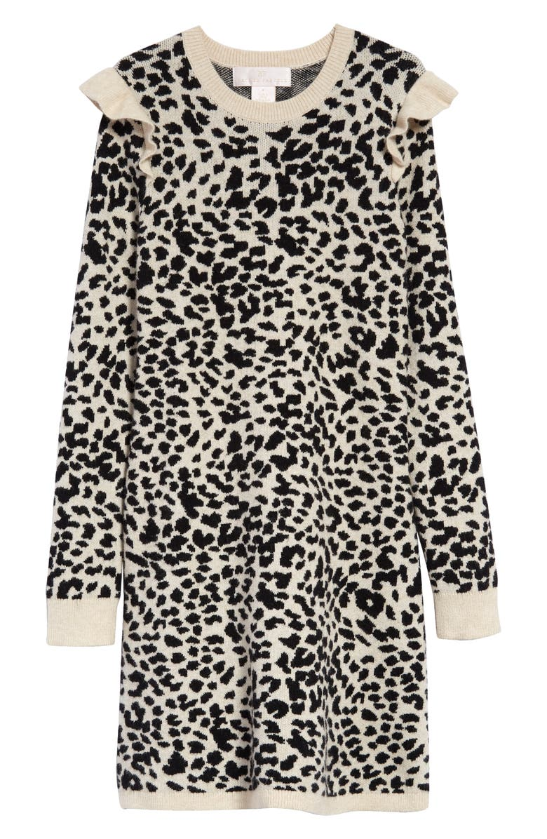 RACHEL PARCELL Leopard Jacquard Sweater Dress, Main, color, 900