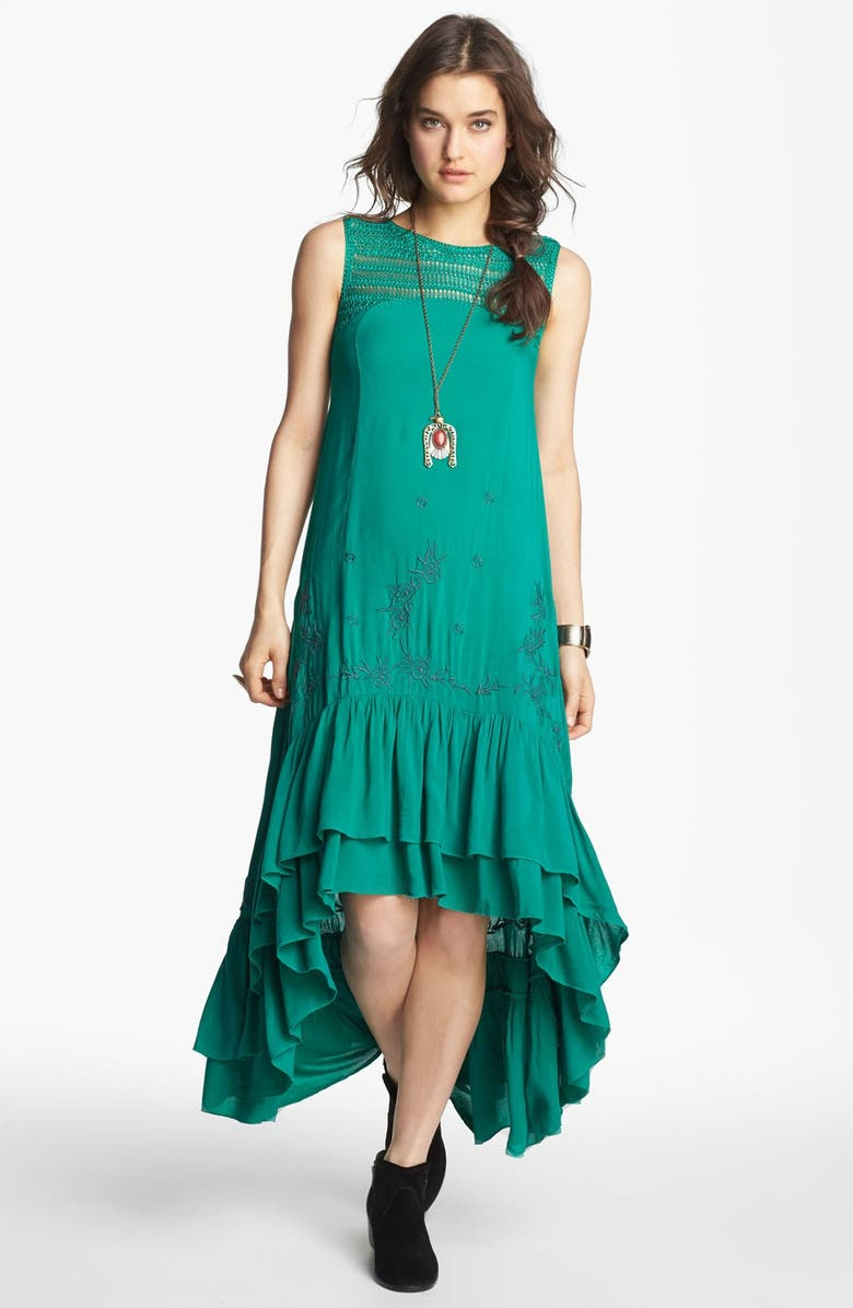 FREE PEOPLE Embroidered Crochet Trim High/Low Dress, Main, color, EMERALD COMBO