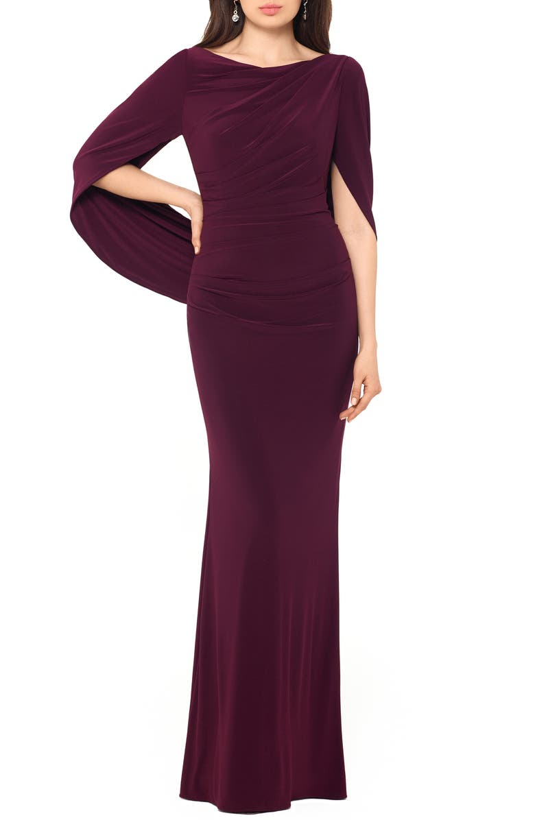 BETSY & ADAM Drape Sleeves Trumpet Evening Gown, Main, color, 930