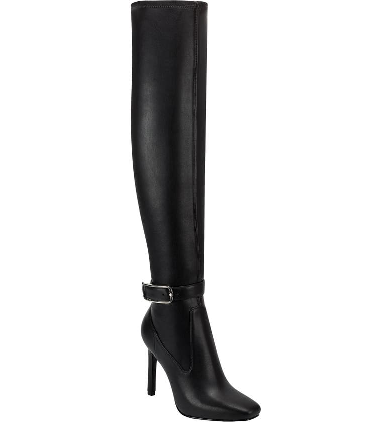 MARC FISHER LTD Caia Buckle Over-the-Knee Boot, Main, color, BLACK