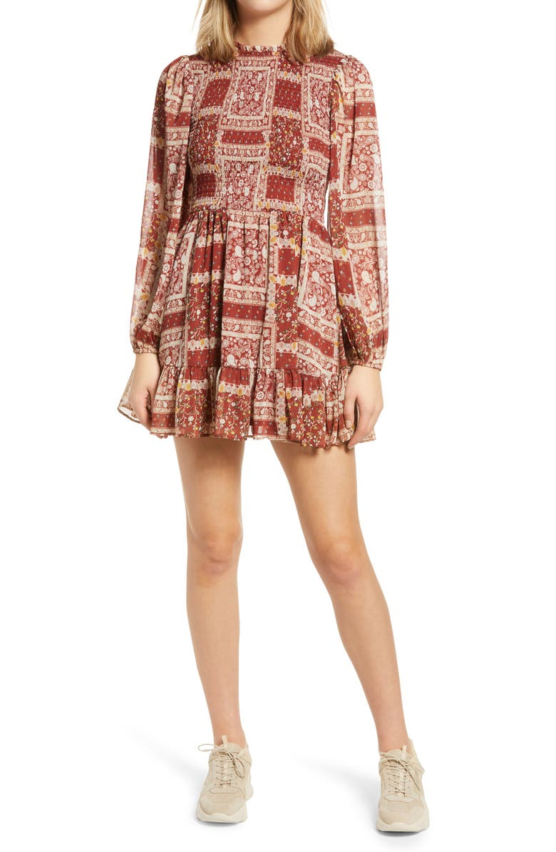 ROW A Patchwork Smocked Long Sleeve Minidress, Main, color, RUST