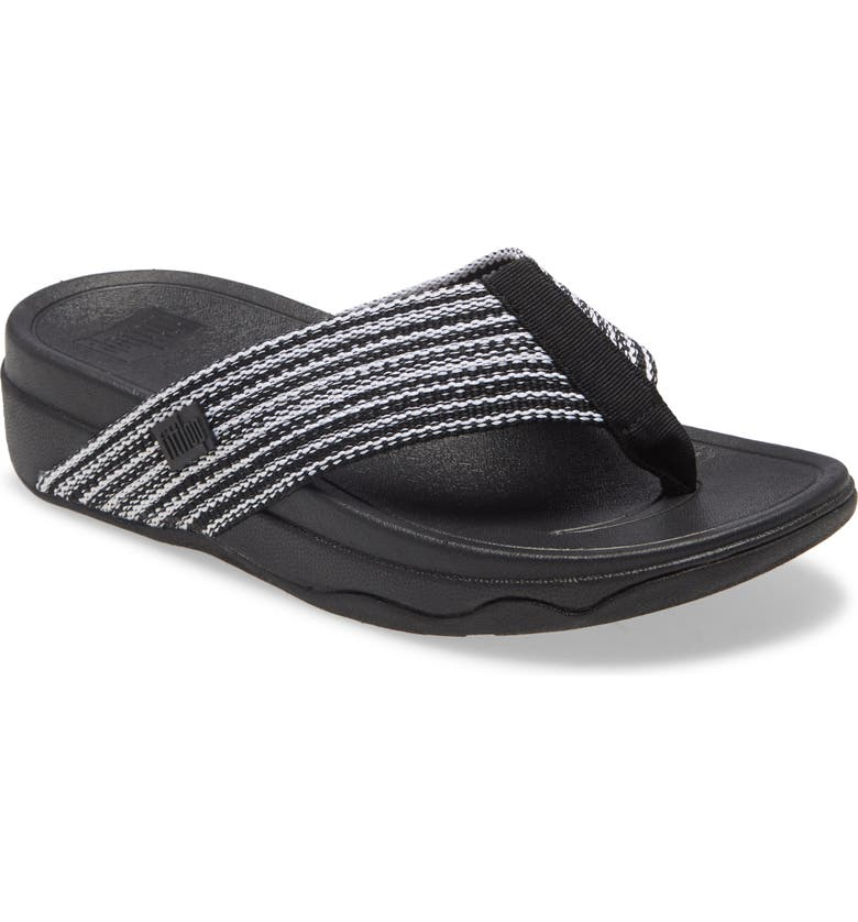 FITFLOP <sup>™</sup> Surfa<sup>™</sup> Flip Flop, Main, color, ALL BLACK FABRIC