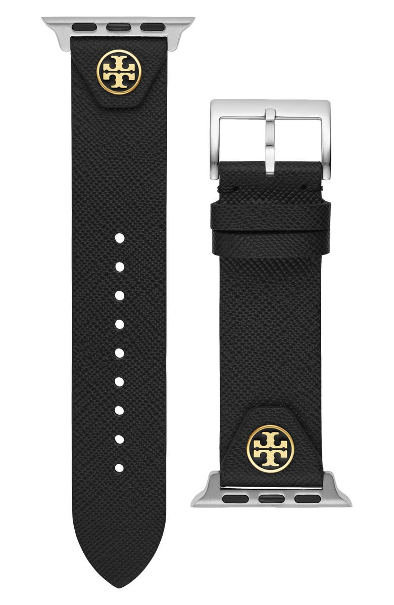 TORY BURCH The Studs Leather Apple Watch<sup>®</sup> Strap, Main, color, BLACK