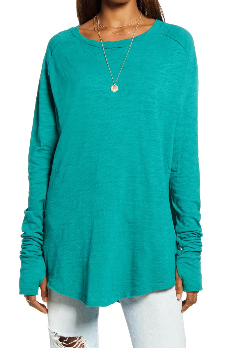 FREE PEOPLE Arden Extra Long Cotton Top, Main, color, EVERGLADE