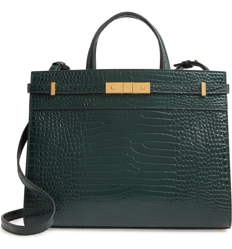 SAINT LAURENT Small Manhattan Croc Embossed Calfskin Satchel, Main, color, 337