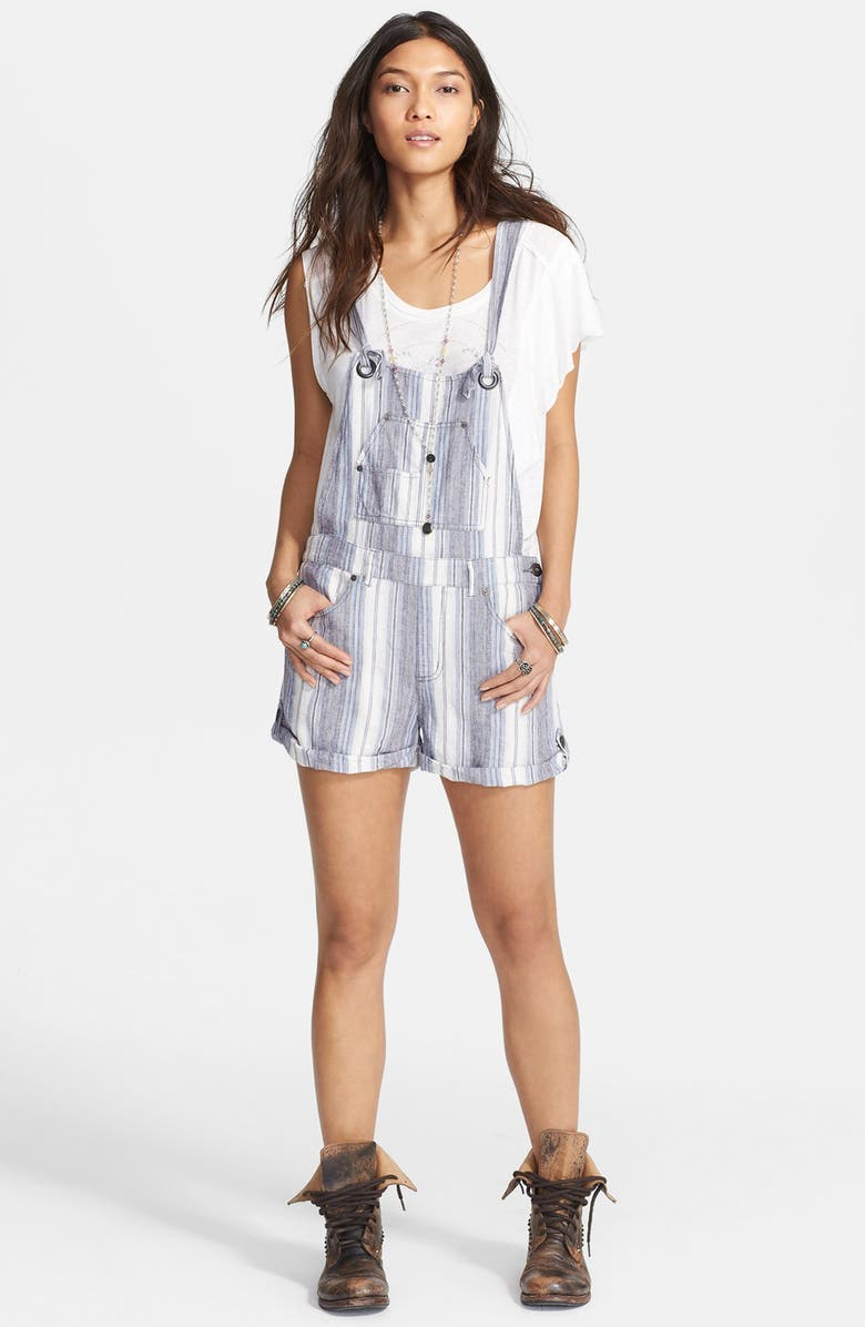 FREE PEOPLE Stripe Linen Blend Short Overalls, Main, color, CHAMBRAY COMBO