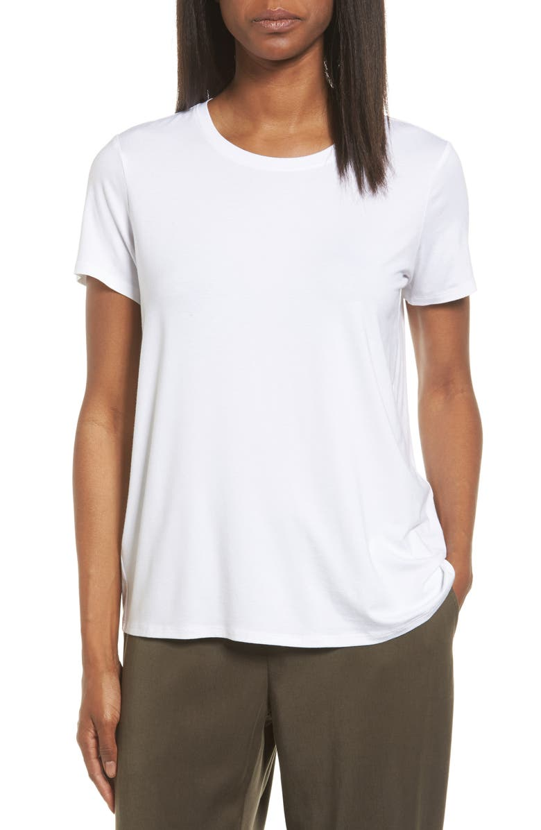 EILEEN FISHER Short Sleeve Jersey Tee, Main, color, WHITE