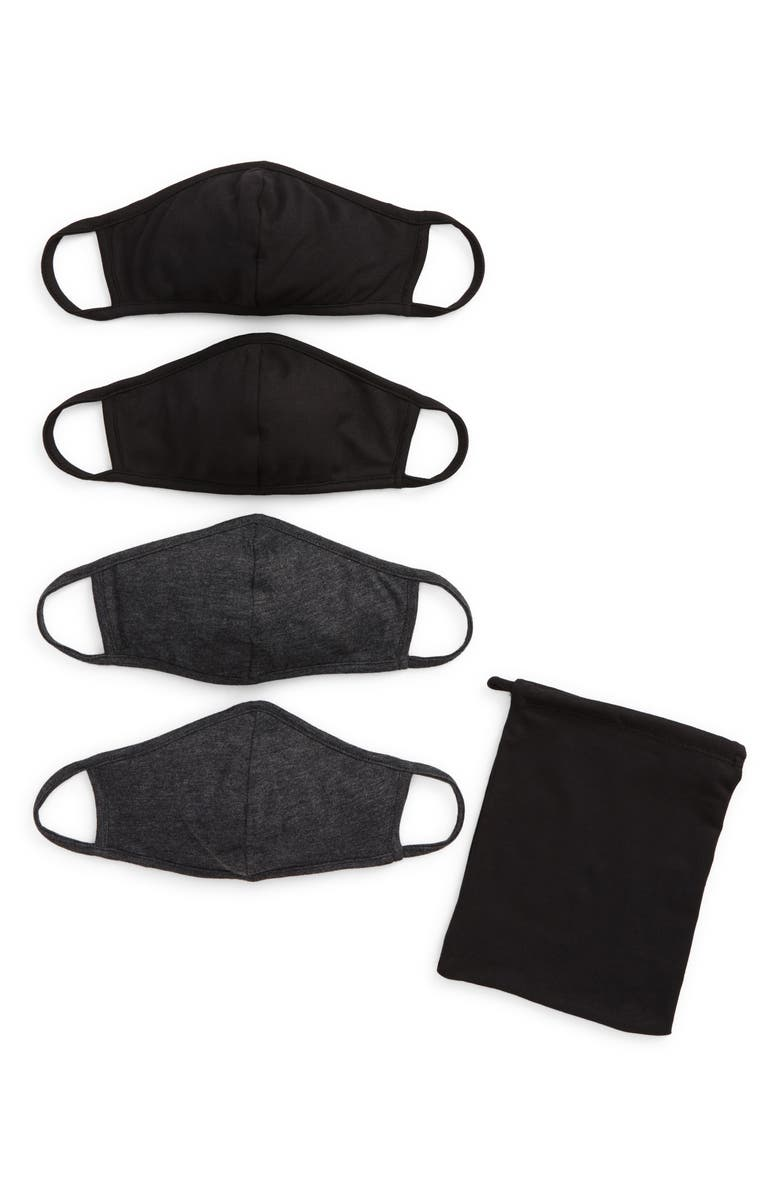NORDSTROM Assorted 4-Pack Kids' Face Masks, Main, color, BLACK COMBO