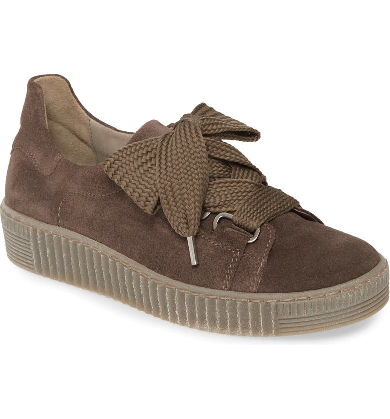 GABOR Lace-Up Sneaker, Main, color, GREY NUBUCK LEATHER
