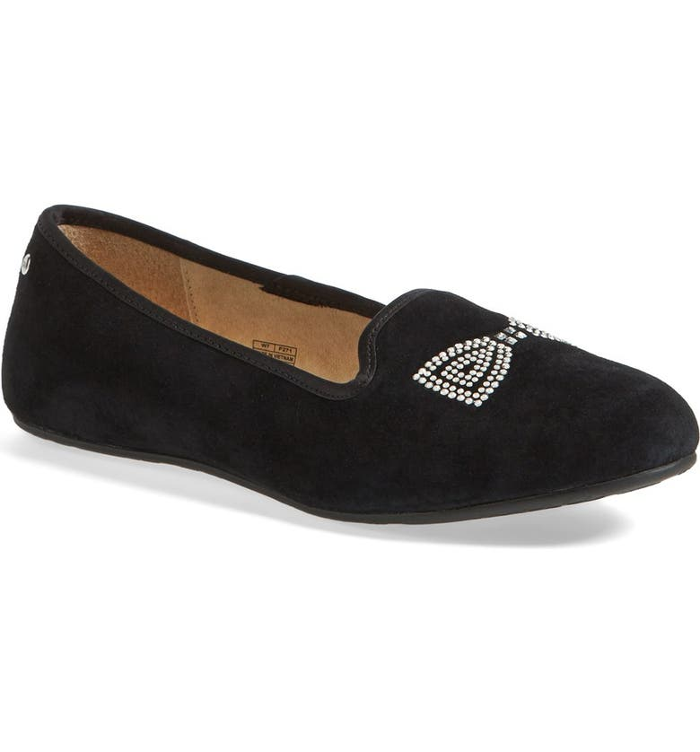 UGG<SUP>®</SUP> Australia 'Alloway - Crystal Bow' Suede Flat, Main, color, 001