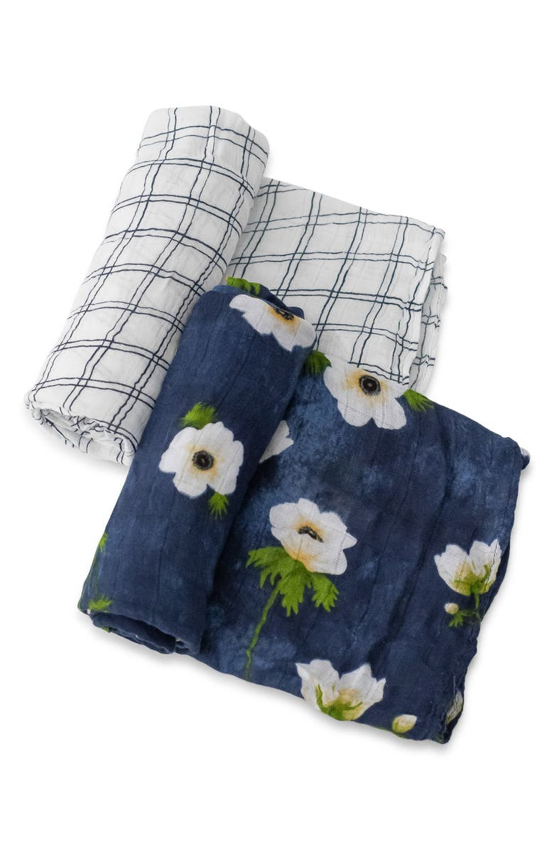 LITTLE UNICORN 2-Pack Muslin Swaddle Blanket, Main, color, WHITE ANEMONE