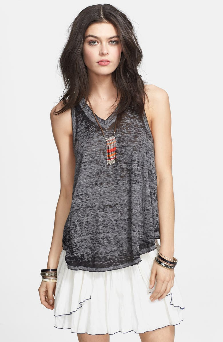 FREE PEOPLE 'Breezy' Seam Detail Slub Knit Tank, Main, color, 001