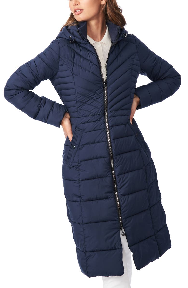 BERNARDO Hooded Long Quilted Coat, Main, color, DEEP OCEAN