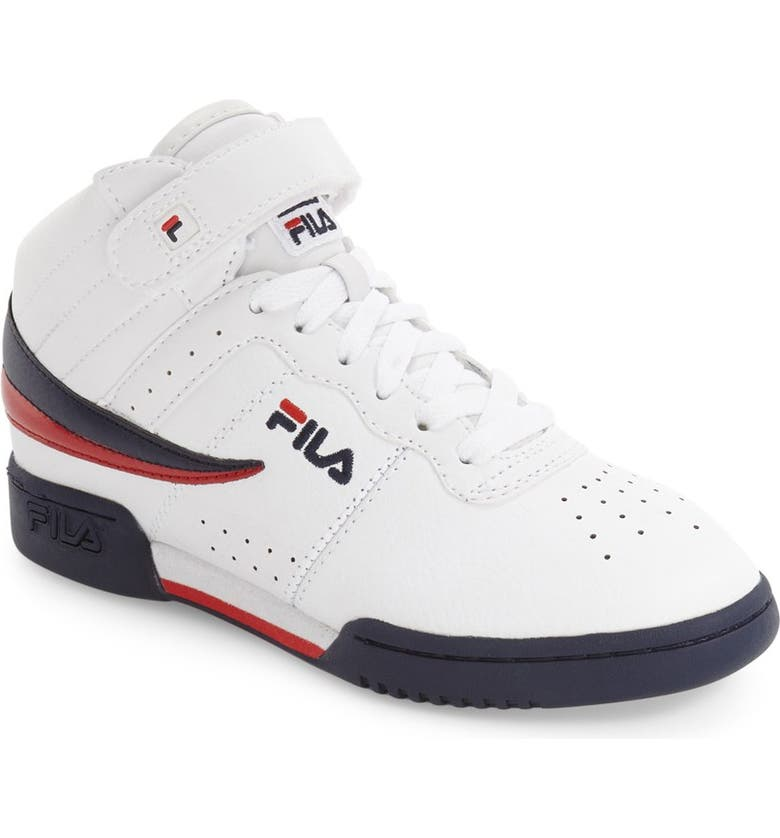 FILA F-13 High Top Sneaker, Main, color, WHITE/ NAVY/ RED