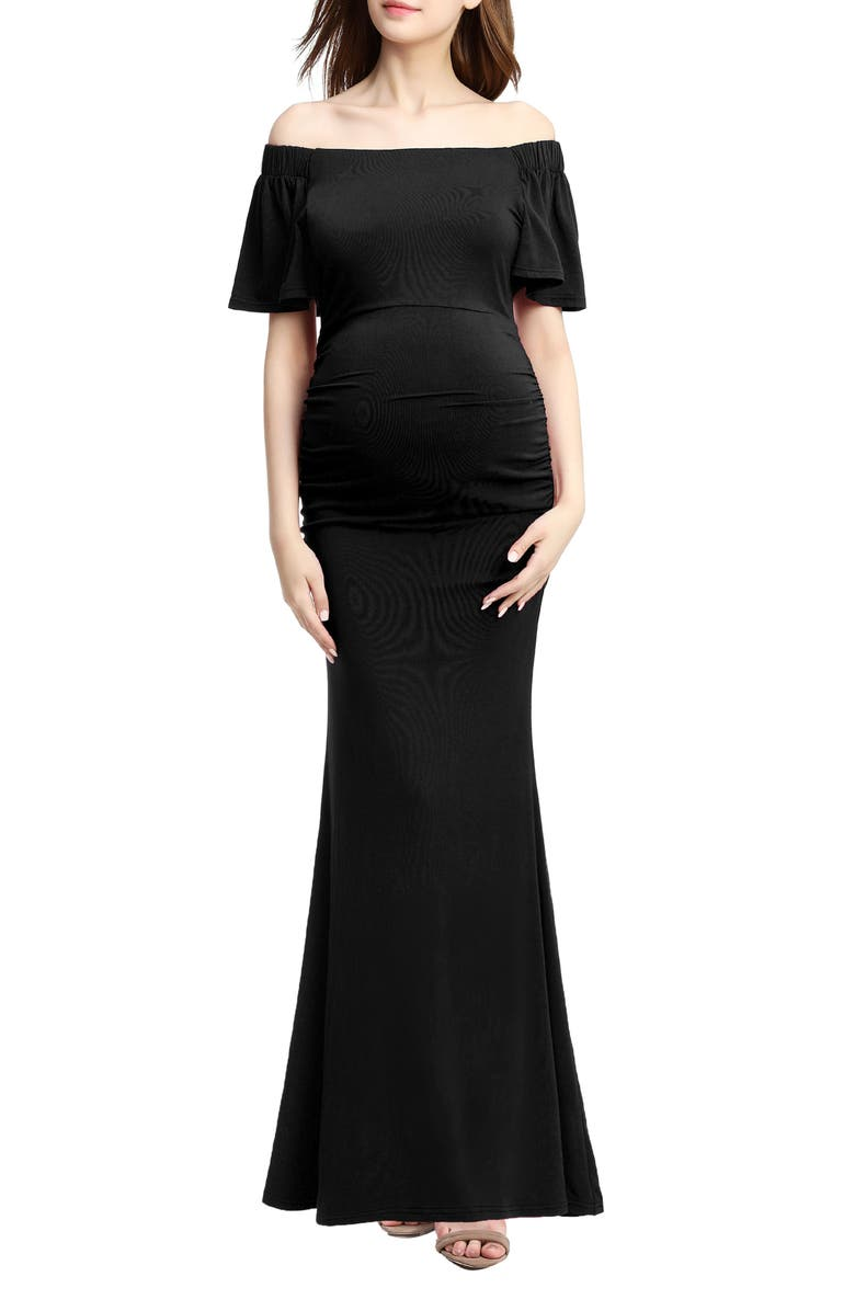 KIMI AND KAI Abigail Off the Shoulder Maternity Trumpet Gown, Main, color, BLACK