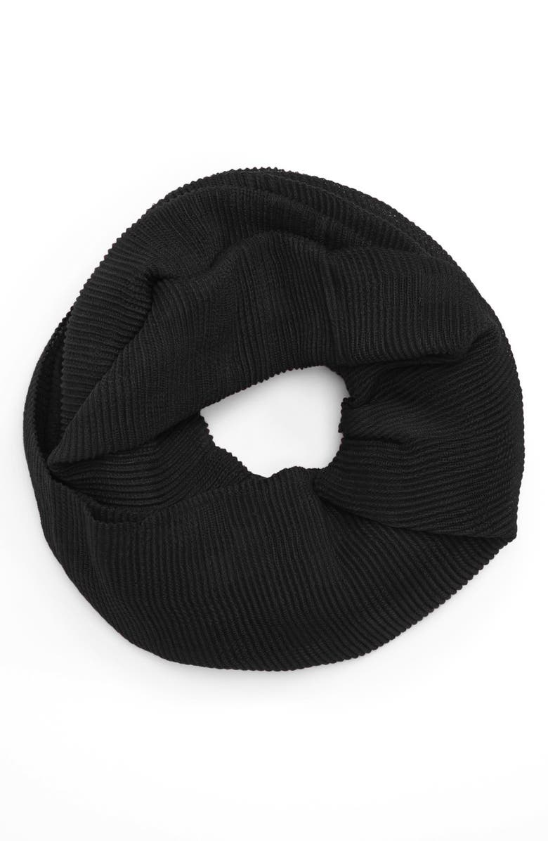 ECHO Pleated Infinity Scarf, Main, color, Black