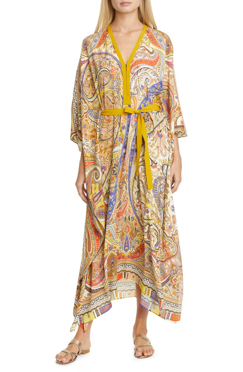 ETRO Belted Paisley Cover-Up Caftan, Main, color, 900