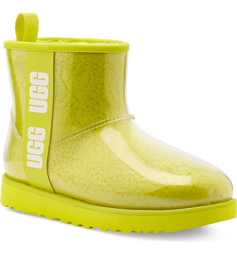 UGG<SUP>®</SUP> Classic Mini Waterproof Clear Boot, Main, color, SULFUR