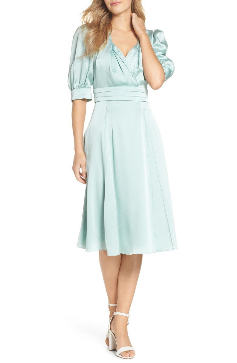 GAL MEETS GLAM COLLECTION Vera Satin Fit & Flare Dress, Main, color, SEA GLASS