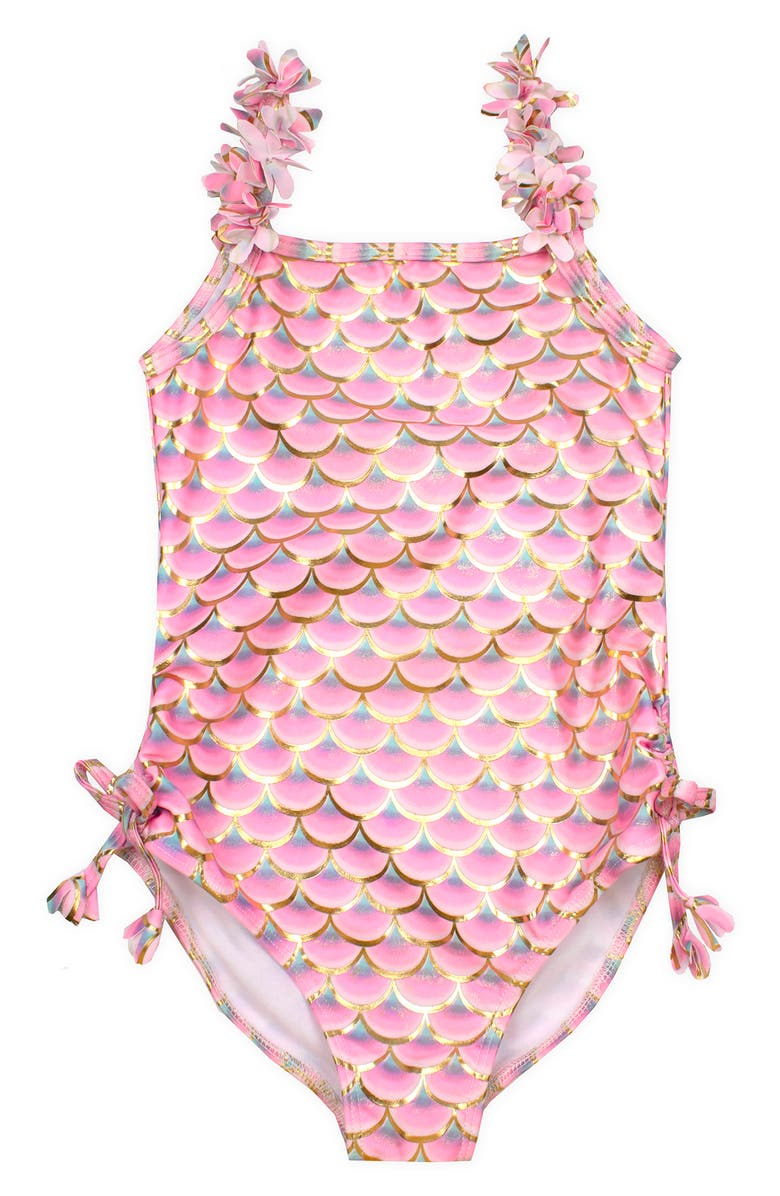 KATE MACK Mermaid Scale One-Piece Swimsuit, Main, color, Pink