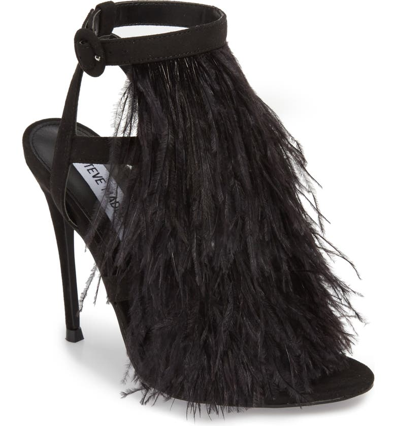 STEVE MADDEN Fefe Feather Sandal, Main, color, 001