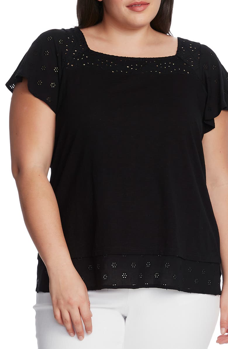 VINCE CAMUTO Eyelet Detail Short Sleeve Cotton Blend Layered Top, Main, color, 001