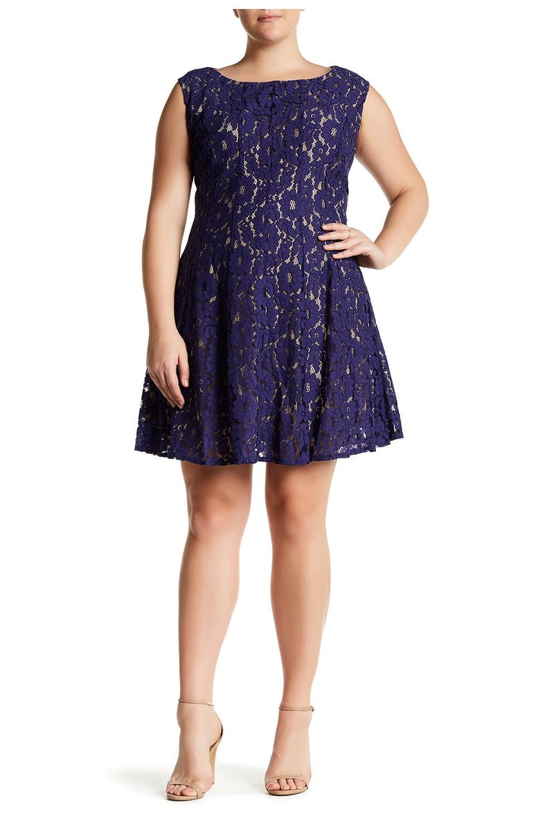 TAYLOR DRESSES Lace Fit and Flare Dress, Main, color, LAPIS/NUDE