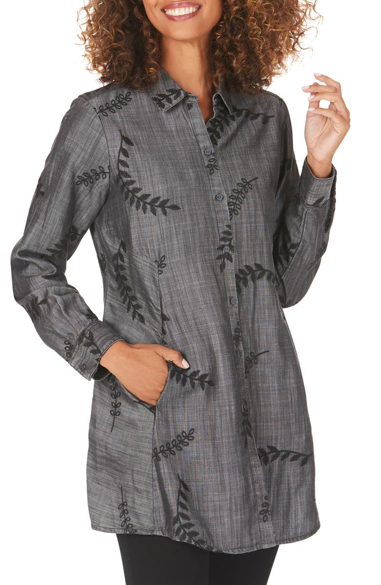 FOXCROFT Cici Embroidered Tunic Shirt, Main, color, 020